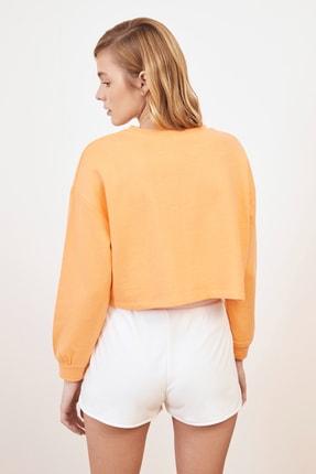 TRENDYOLMİLLA Şeftali Nakışlı Crop Örme Sweatshirt TWOSS20SW0150 4