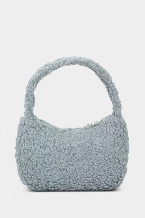 Housebags Kadın Gri Suni Kürklü Baguette Çanta 197 1