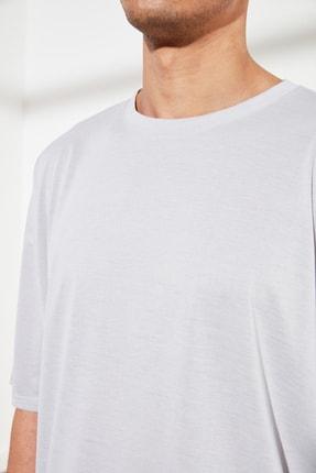 TRENDYOL MAN Gri Basic Erkek Oversize Bisiklet Yaka Kısa Kollu T-Shirt TMNSS21TS0811 4