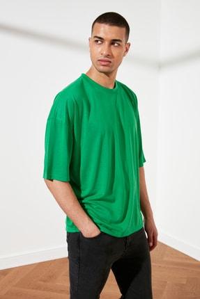 TRENDYOL MAN Yeşil Basic Erkek Oversize Bisiklet Yaka Kısa Kollu T-Shirt TMNSS21TS0811 1