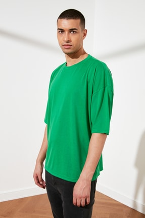 TRENDYOL MAN Yeşil Basic Erkek Oversize Bisiklet Yaka Kısa Kollu T-Shirt TMNSS21TS0811 2