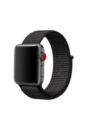 Zore Gri Apple Watch 1 2 3 4 5 Serisi Uyumlu 42mm Kordon Spor Loop Hasır Cırt Cırtlı Kayış 0