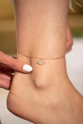 İzla Design Zirkon Taşlı Göz Model Rose Kaplama Gümüş Halhal 1