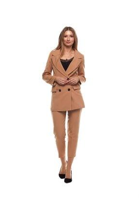 Kadın Pensli Camel Havuç Pantolon bshp001