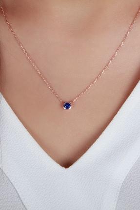 Afrodit Silver Kadın Mavi Tektaş Tasarım Gümüş  Kolye 1