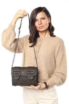 Madamra Aynı Butikte 2. Ürün 1 TL Haki Süet Kadın Kemerli Kapaklı Kutu Omuz Çantası 3