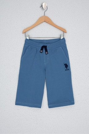 US Polo Assn Mavi Erkek Çocuk Orme Capri Bermuda 0