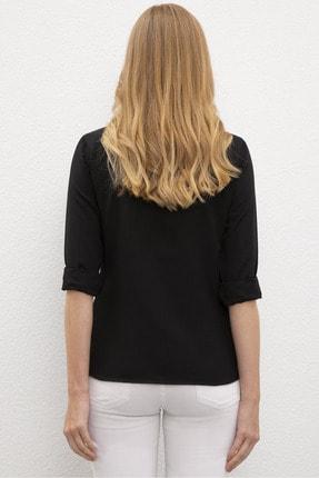 US Polo Assn Siyah Kadın Dokuma Gömlek 2
