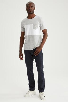 Defacto Erkek Gri Baskılı Slim Fit Tişört 1