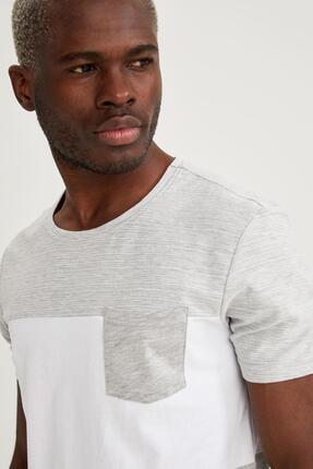 Defacto Erkek Gri Baskılı Slim Fit Tişört 2