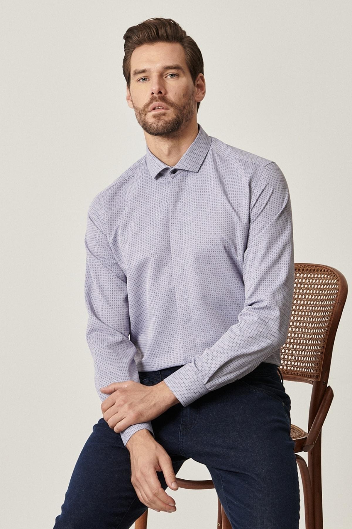 Erkek Gri Tailored Slim Fit Dar Kesim Küçük İtalyan Yaka Baskılı Gömlek