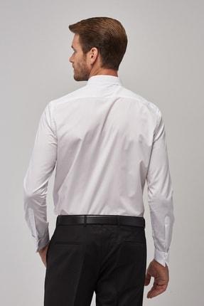 Altınyıldız Classics Erkek Beyaz Tailored Slim Fit Duble Manşet Gömlek 2