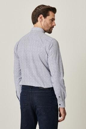 Altınyıldız Classics Erkek Lacivert Tailored Slim Fit Dar Kesim Küçük İtalyan Yaka Baskılı Gömlek 3