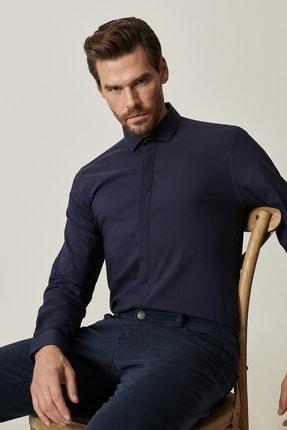 Altınyıldız Classics Erkek Lacivert Tailored Slim Fit Dar Kesim Küçük İtalyan Yaka Gömlek 1
