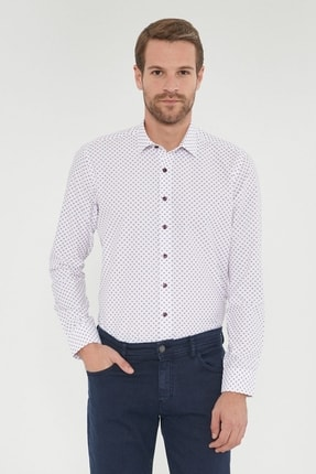 Altınyıldız Classics Erkek Bordo Tailored Slim Fit Baskılı Gömlek 0