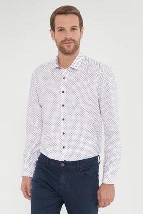 Altınyıldız Classics Erkek Bordo Tailored Slim Fit Baskılı Gömlek 2