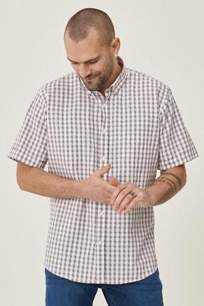 Altınyıldız Classics Erkek Beyaz-Bordo Regular Fit Kısa Kollu Gömlek 1
