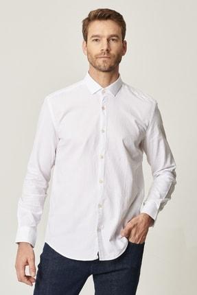 Altınyıldız Classics Erkek Beyaz Tailored Slim Fit Klasik Gömlek Yaka %100 Koton Gömlek 0