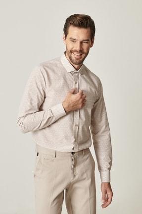 Altınyıldız Classics Erkek Bej Tailored Slim Fit Dar Kesim Küçük İtalyan Yaka Baskılı Gömlek 2