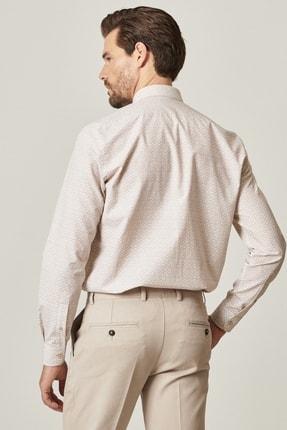 Altınyıldız Classics Erkek Bej Tailored Slim Fit Dar Kesim Küçük İtalyan Yaka Baskılı Gömlek 3