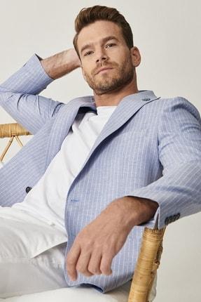 Altınyıldız Classics Erkek Açık Mavi Slim Fit Desenli Ceket 1