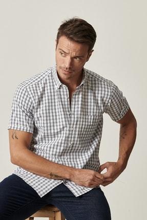 Altınyıldız Classics Erkek Beyaz-Lacivert Regular Fit Kısa Kollu Gömlek 2