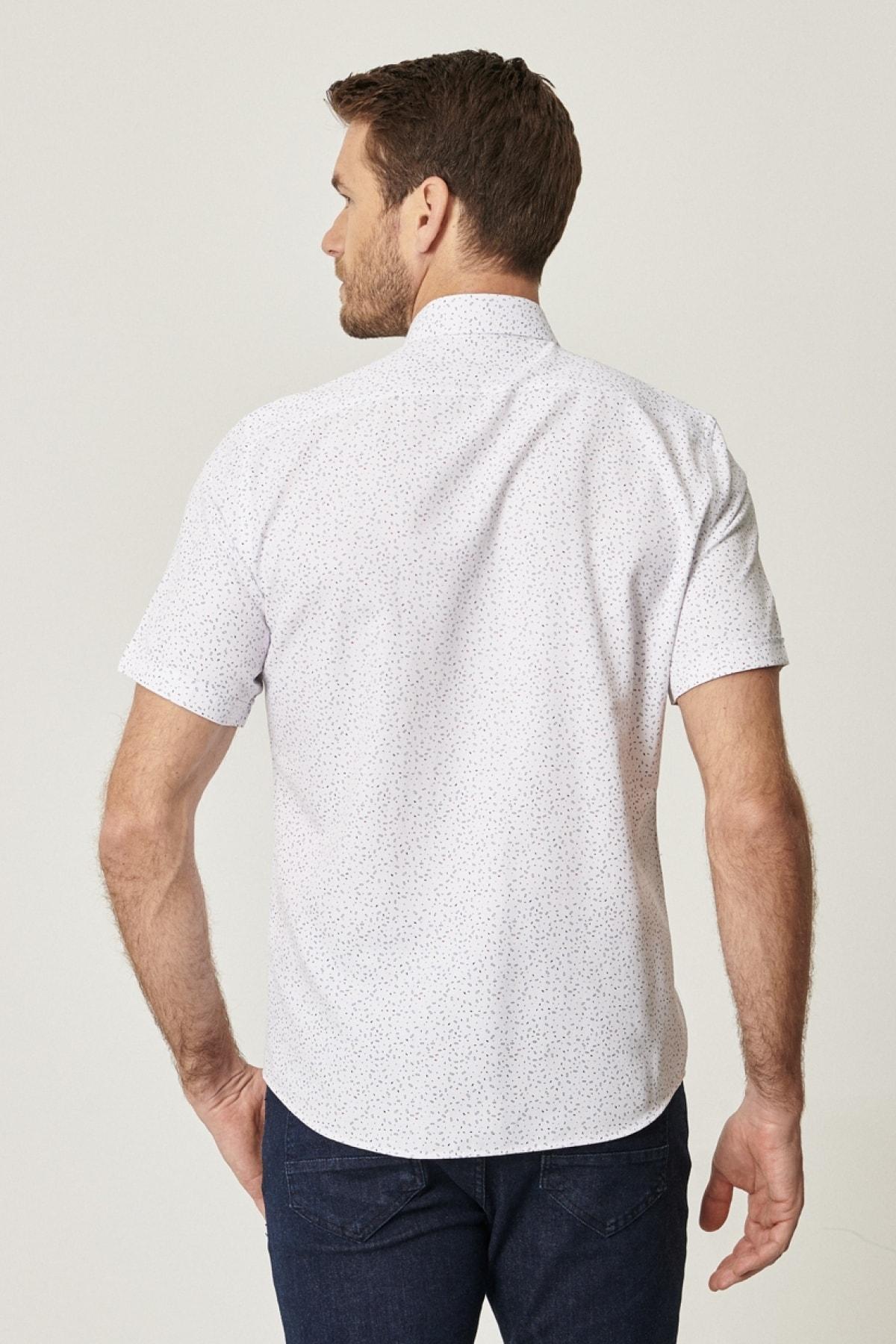 Altınyıldız Classics Erkek Beyaz-Lacivert Tailored Slim Fit Kısa Kollu Gömlek