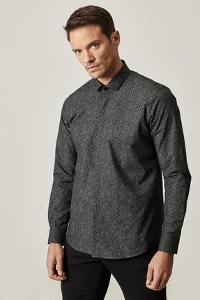 Altınyıldız Classics Erkek Siyah Tailored Slim Fit Dar Kesim Küçük İtalyan Yaka Baskılı Gömlek 2