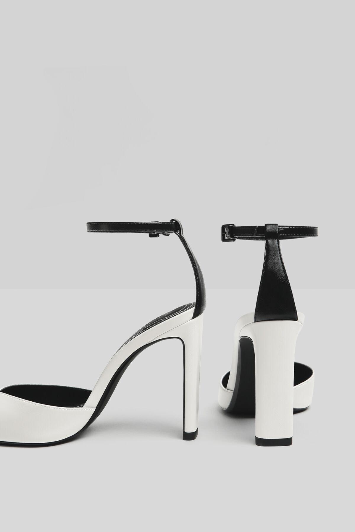 Bershka Kadın Beyaz Bilek Bantlı Topuklu Ayakkabı 11302760 4