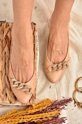 Fox Shoes Kadın Ten Rengi Taş Detaylı Zincirli Babet K726095509 0