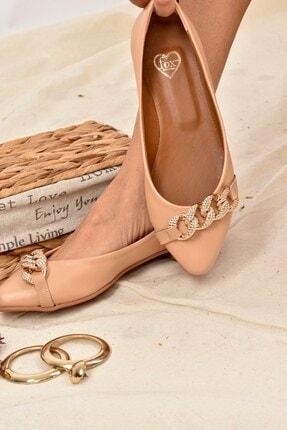 Fox Shoes Kadın Ten Rengi Taş Detaylı Zincirli Babet K726095509 1