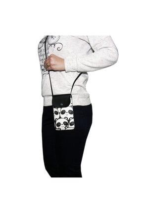 Cemmys Kadın Siyah Çapraz Desenli Telefon Çantası 2