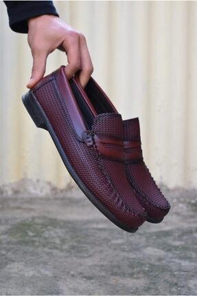ALBİDÜNYA Erkek Bordo Ortopedik Tabanlı Baskı Detay Modelli Günlük Ayakkabı 3