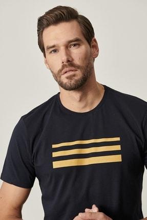 Altınyıldız Classics Erkek Lacivert Slim Fit Dar Kesim Bisiklet Yaka Baskılı Tişört 4