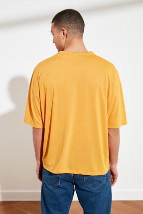 TRENDYOL MAN Turuncu Basic Erkek Oversize Bisiklet Yaka Kısa Kollu T-Shirt TMNSS21TS0811 4
