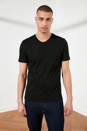 TRENDYOL MAN Siyah Basic Erkek Slim Fit V Yaka Kısa Kollu T-Shirt TMNSS19BO0002 0