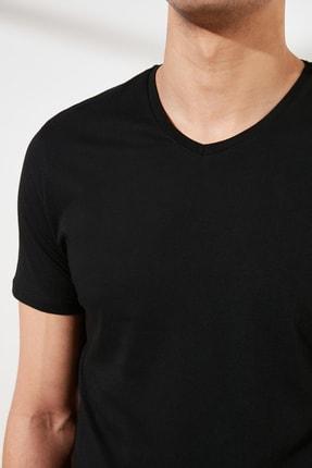 TRENDYOL MAN Siyah Basic Erkek Slim Fit V Yaka Kısa Kollu T-Shirt TMNSS19BO0002 3