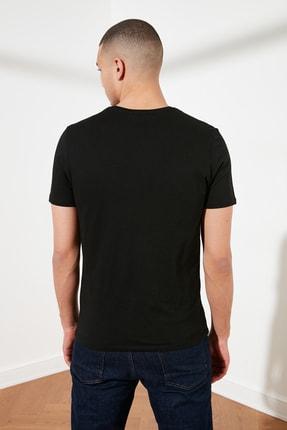 TRENDYOL MAN Siyah Basic Erkek Slim Fit V Yaka Kısa Kollu T-Shirt TMNSS19BO0002 4