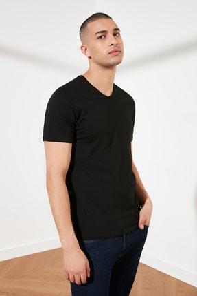TRENDYOL MAN Siyah Basic Erkek Slim Fit V Yaka Kısa Kollu T-Shirt TMNSS19BO0002 2