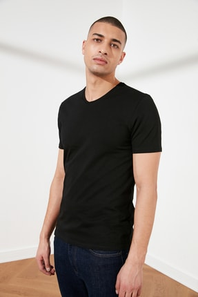 TRENDYOL MAN Siyah Basic Erkek Slim Fit V Yaka Kısa Kollu T-Shirt TMNSS19BO0002 1