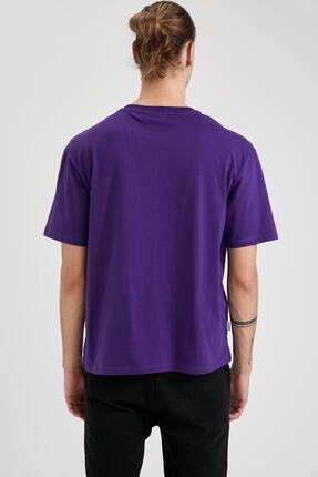 Defacto Erkek Mor Nba Lisanslı Oversize Fit Bisiklet Yaka Pamuklu Tişört 3