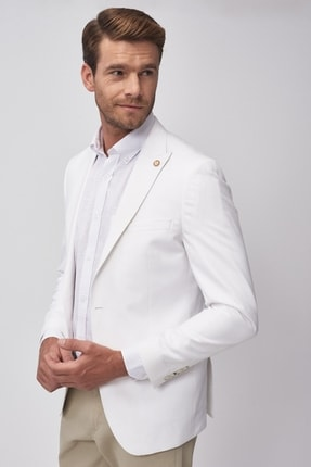 Altınyıldız Classics Erkek Beyaz Slim Fit Ceket 2
