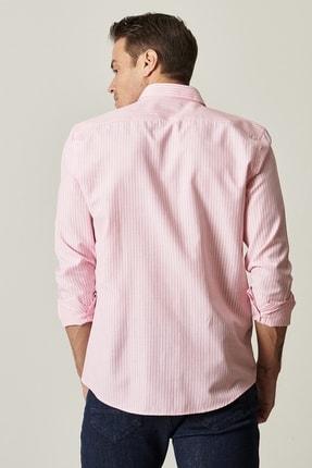 Altınyıldız Classics Erkek Pembe-Beyaz Tailored Slim Fit Dar Kesim Düğmeli Yaka Çizgili Gömlek 2
