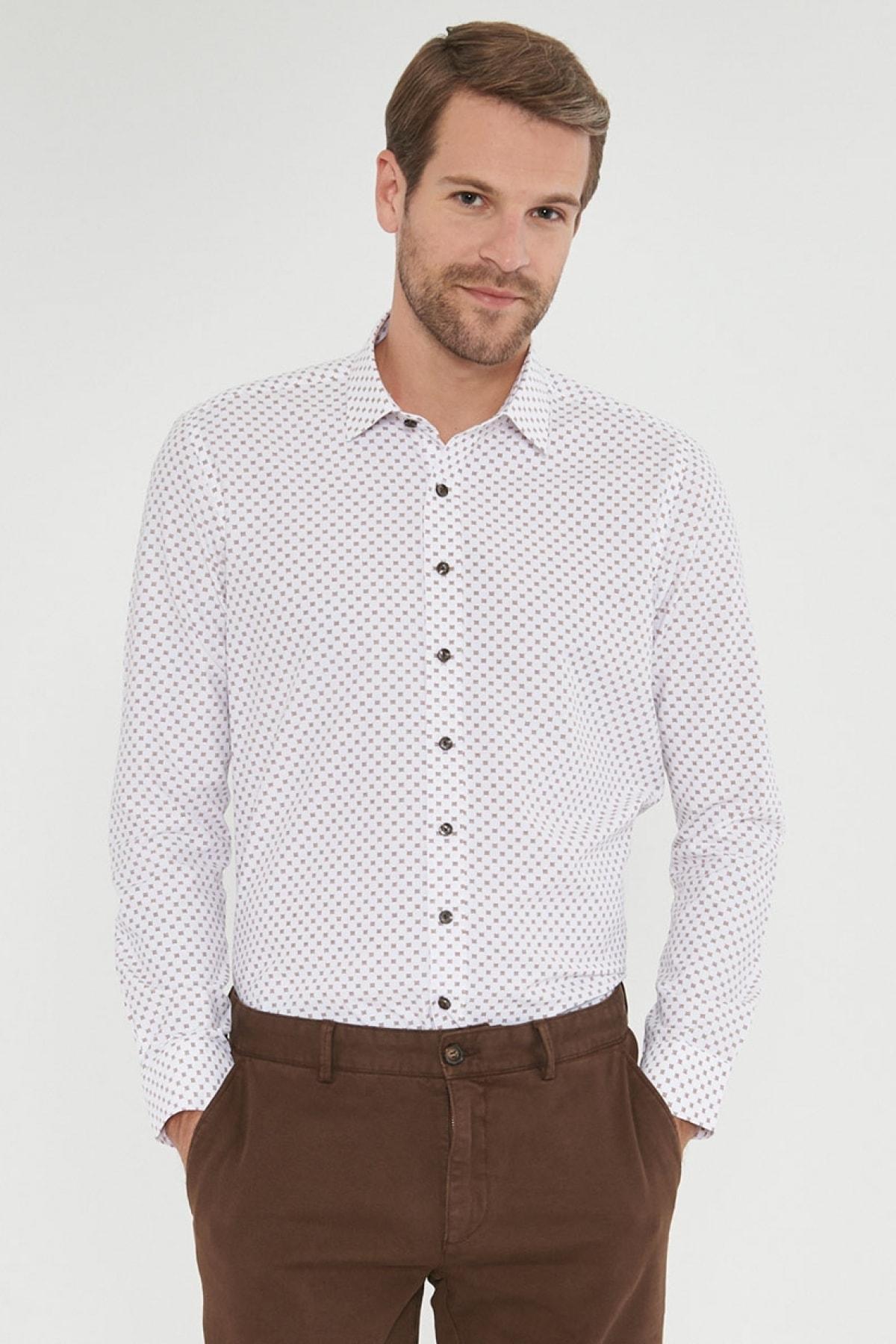 Erkek Kahverengi Tailored Slim Fit Baskılı Gömlek