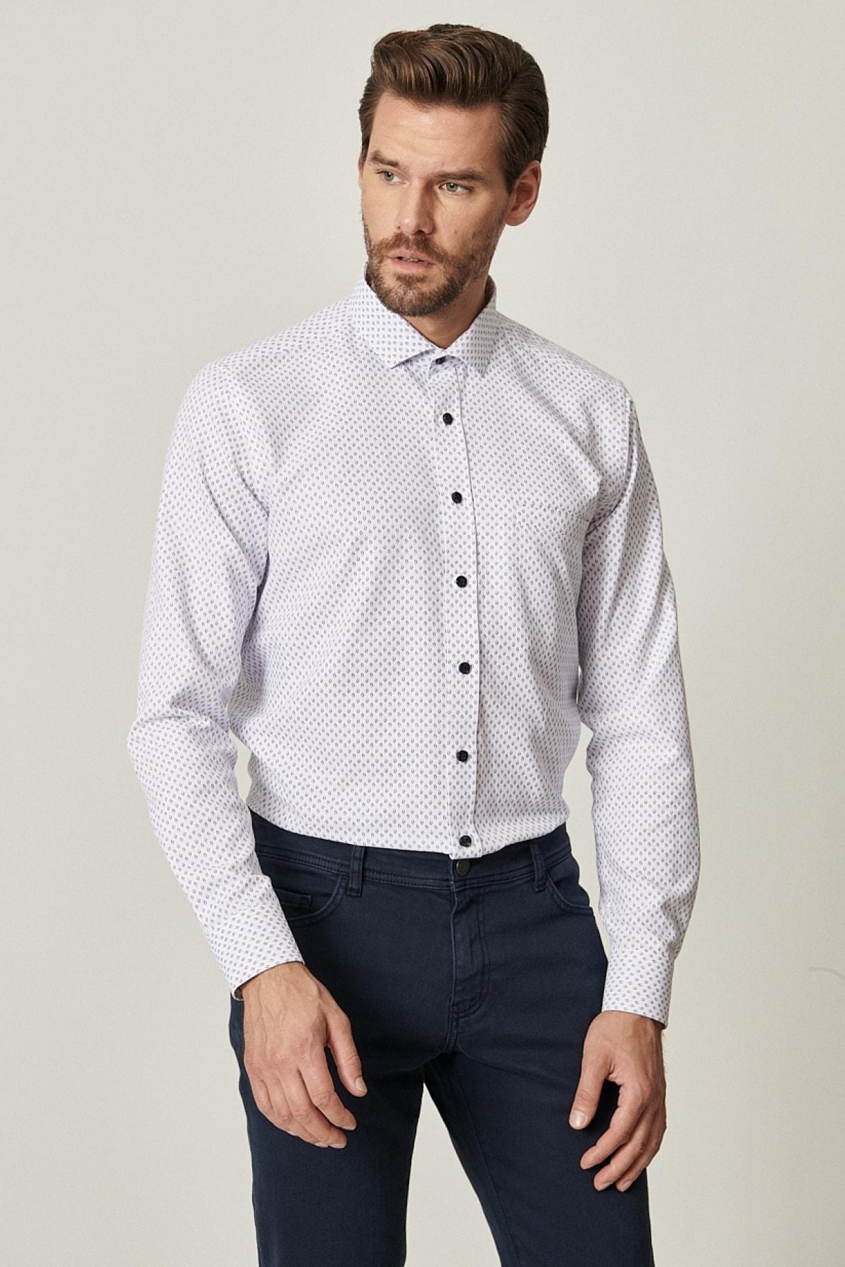Erkek Beyaz-Lacivert Tailored Slim Fit Dar Kesim Küçük İtalyan Yaka Baskılı Gömlek