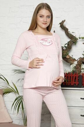 BOYRAZ Kadın Pembe Hamile Emzirmeli Uzun Kol Pijama Takımı 7102 0