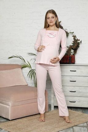 BOYRAZ Kadın Pembe Hamile Emzirmeli Uzun Kol Pijama Takımı 7102 1
