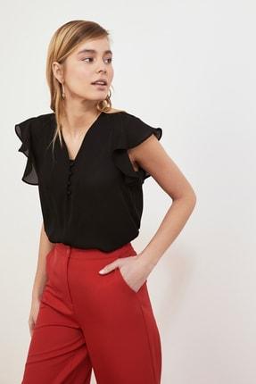 TRENDYOLMİLLA Siyah Düğme Detaylı Bluz TWOSS20BZ0894 3