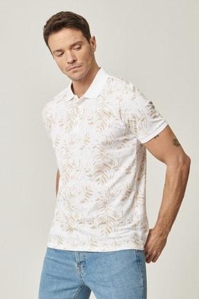 Altınyıldız Classics Erkek Beyaz-Bej Polo Yaka Cepsiz Slim Fit Dar Kesim %100 Koton Desenli Tişört 1