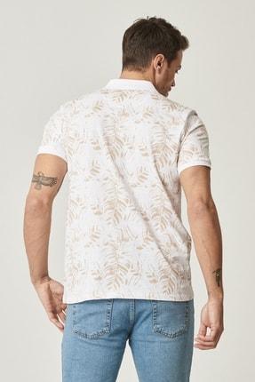 Altınyıldız Classics Erkek Beyaz-Bej Polo Yaka Cepsiz Slim Fit Dar Kesim %100 Koton Desenli Tişört 3